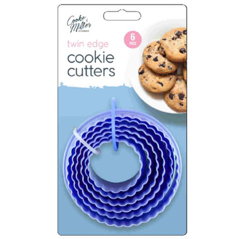 Set 6 Blue Plastic Crinkle Cut Biscuit Cookie & Pastry Cutters